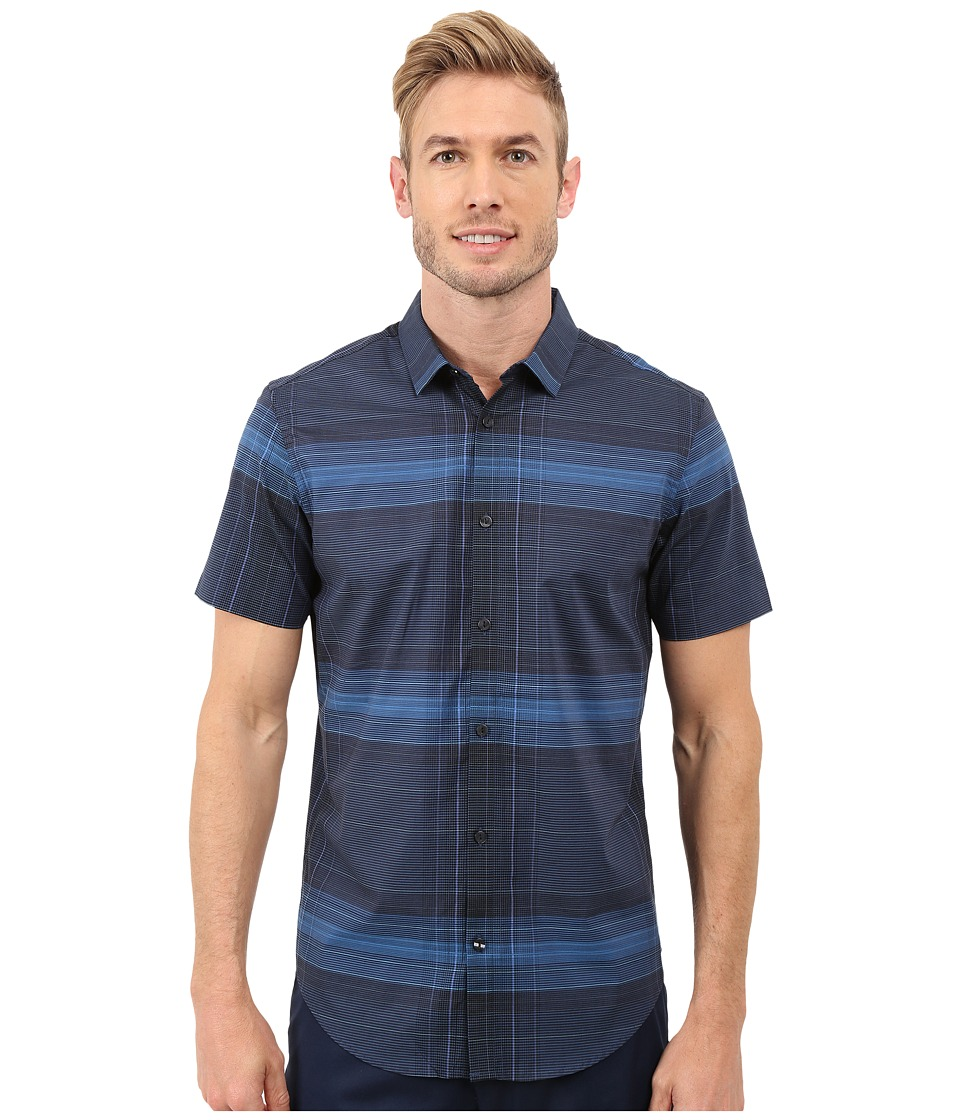 Calvin Klein - Slim Fit Linear Plaid Short Sleeve Shirt (Daphne) Men's Short Sleeve Button Up