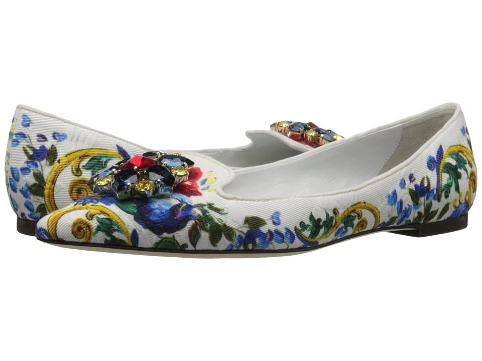 Dolce & Gabbana - Maolica Ceramic Print Brocade Skimmer (Maolica Bouquet) Women's Flat Shoes