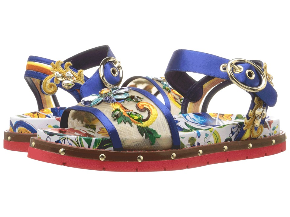 Dolce & Gabbana Maolica Ceramic Print Mesh and Satin Sandal Bouquet Blue-Maolica Womens Dress Sandals