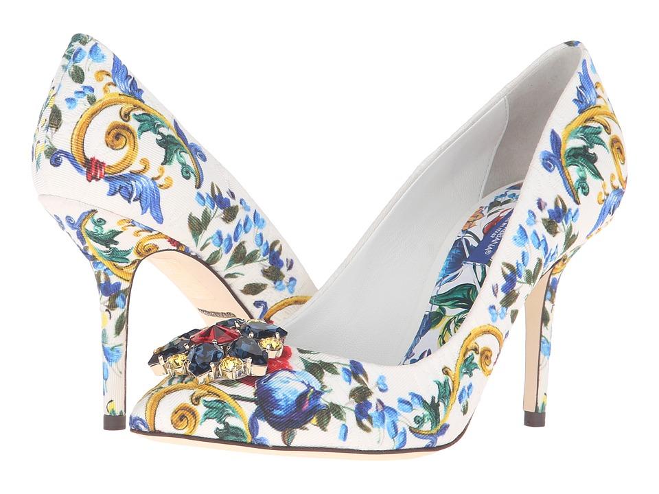 Dolce & Gabbana - Maiolica Ceramic Print Brocade Bellucci Pump (Maiolica Bouquet) High Heels