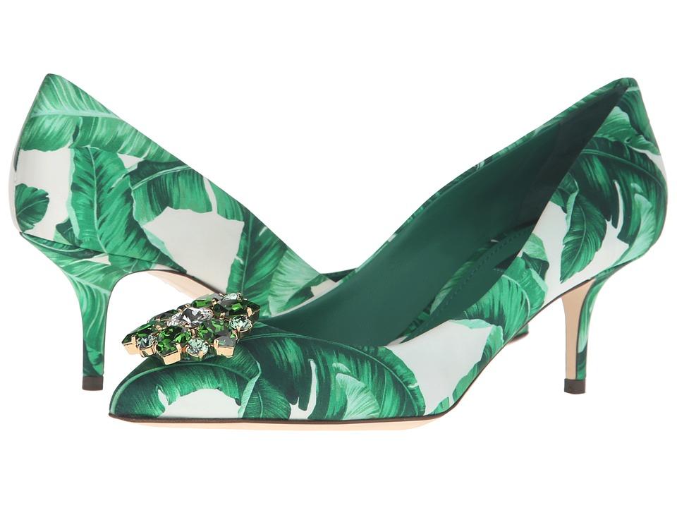 Dolce & Gabbana - Banana Leaf Print Satin Bellucci Pump (Foglie Banano Fondo Bianco) High Heels