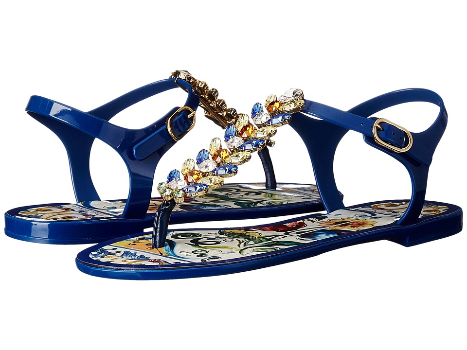 Dolce & Gabbana - Maiolica Ceramic Print Jelly Sandal (Blue Maiolica) Women's Dress Sandals