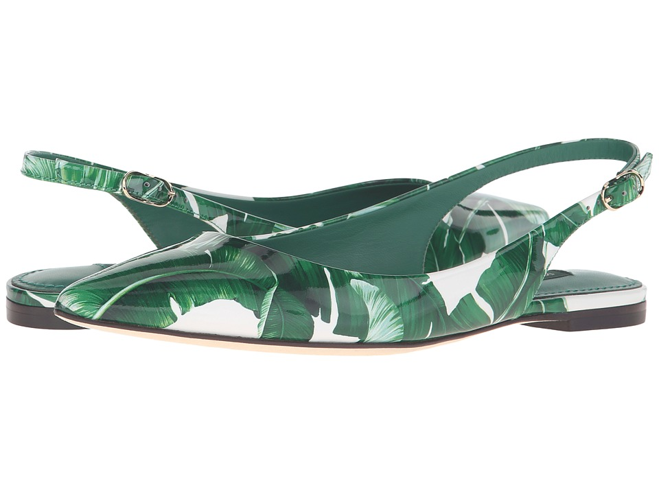 Dolce & Gabbana - Banana Leaf Print Patent Flat Slingback (Foglie Banano Fondo Bianco) Women's Sling Back Shoes
