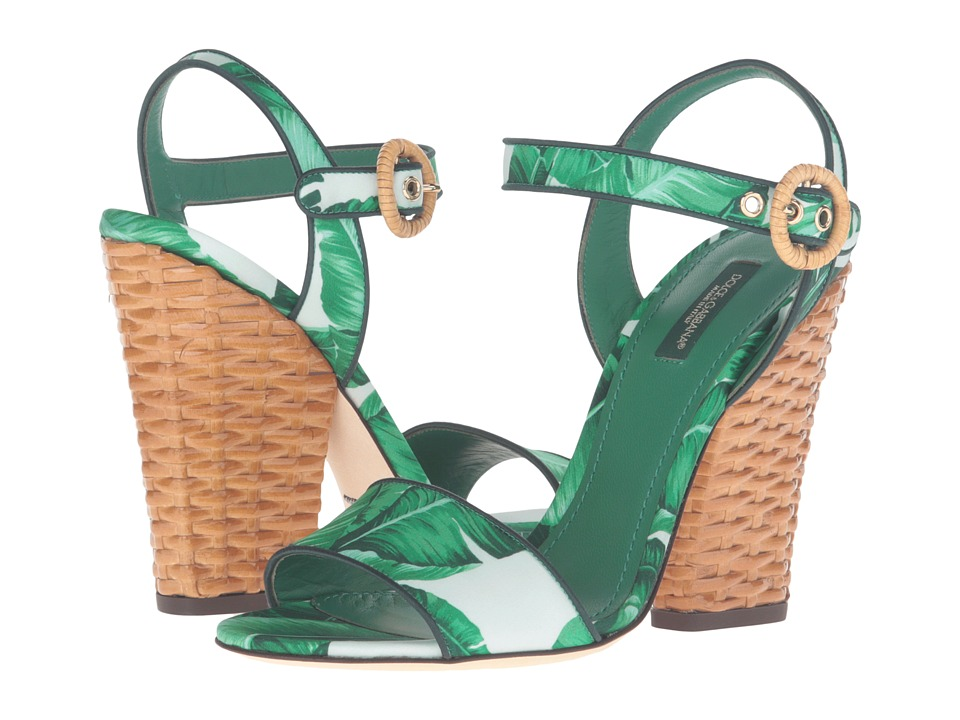 Dolce & Gabbana - Banana Leaf Print Satin Sandal with Midollino Wedge Heel (Foglie Banano Fondo Bianco) Women's Dress Sandals