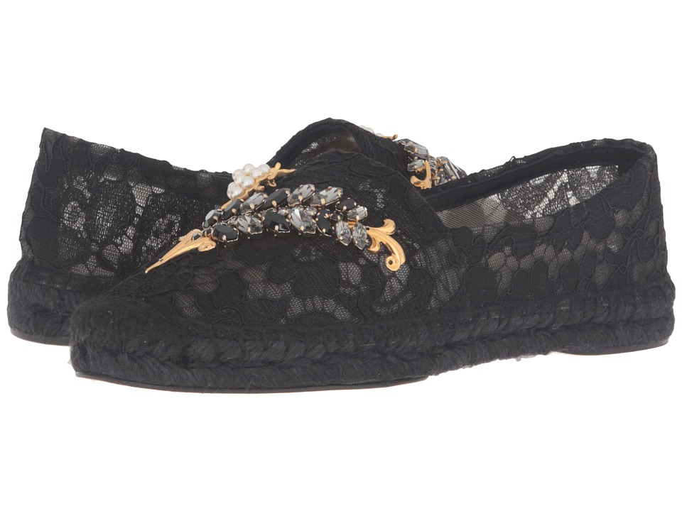 Dolce & Gabbana - Lace Espadrille with Botanical Garden Jewel Embellishment (Black) Women's Dress Sandals