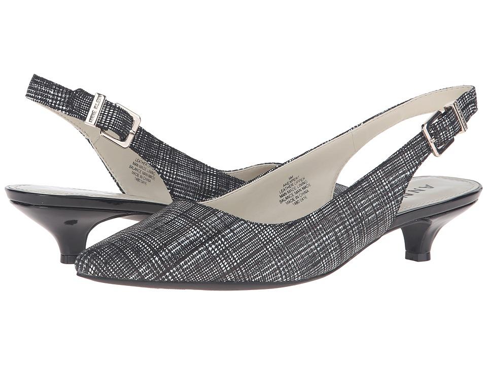 Anne Klein - Expert (Black/White Leather) Women's 1-2 inch heel Shoes