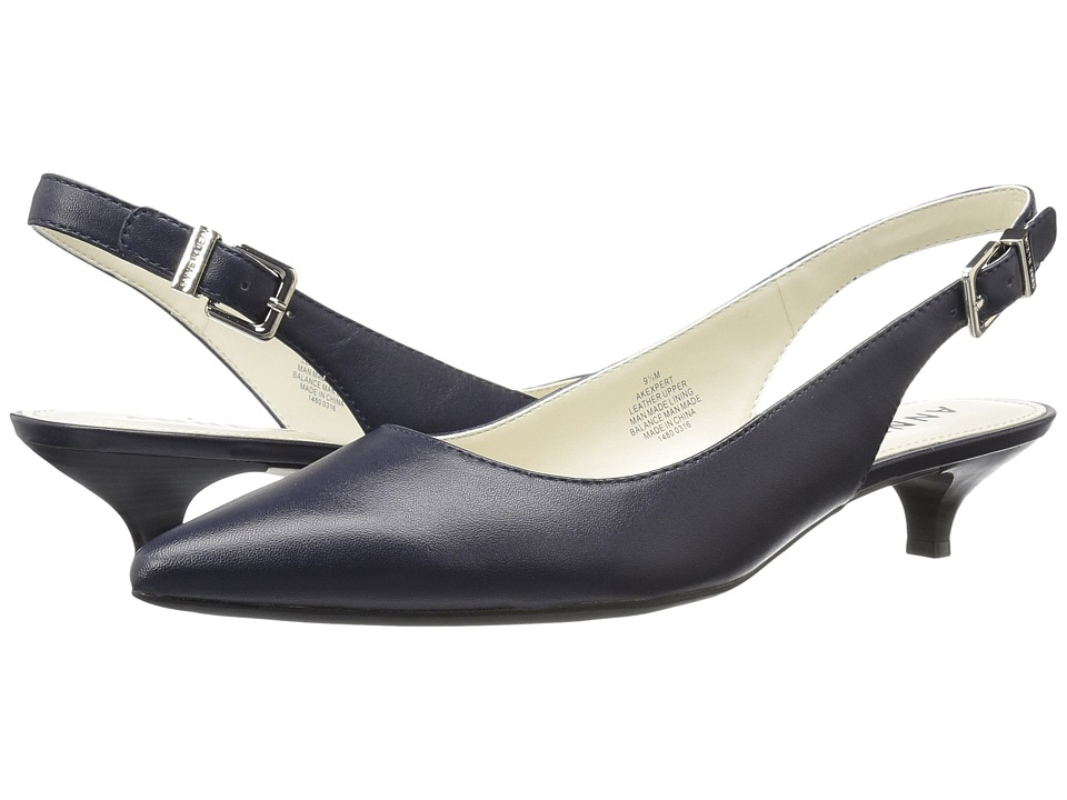 Anne Klein - Expert (Navy Leather) Women's 1-2 inch heel Shoes
