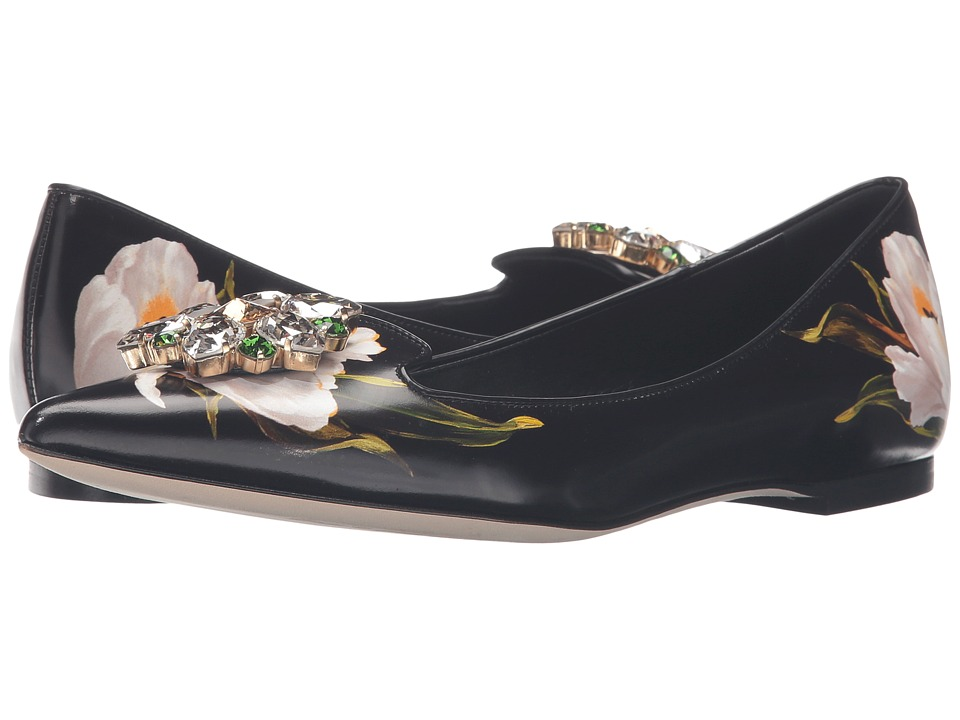 Dolce & Gabbana - Tulip Print Leather Skimmer (Tulip Bianco Fondo Nero) Women's Dress Flat Shoes