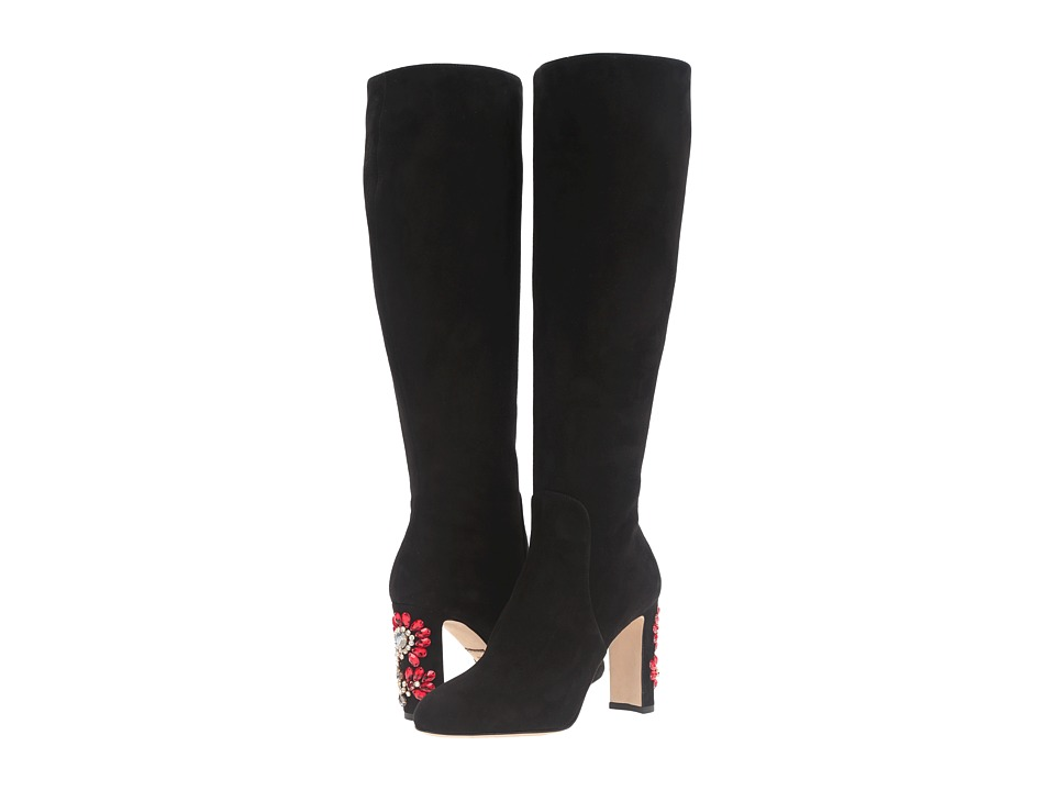 Dolce & Gabbana Suede Knee Boot with Jewel Embellished Heel (Black) Women