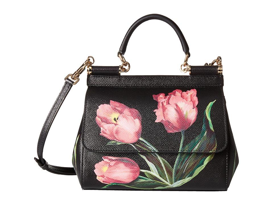 Dolce & Gabbana - Tulip Print Sicily Bag (Tulipani Rosa F. Nero) Bags