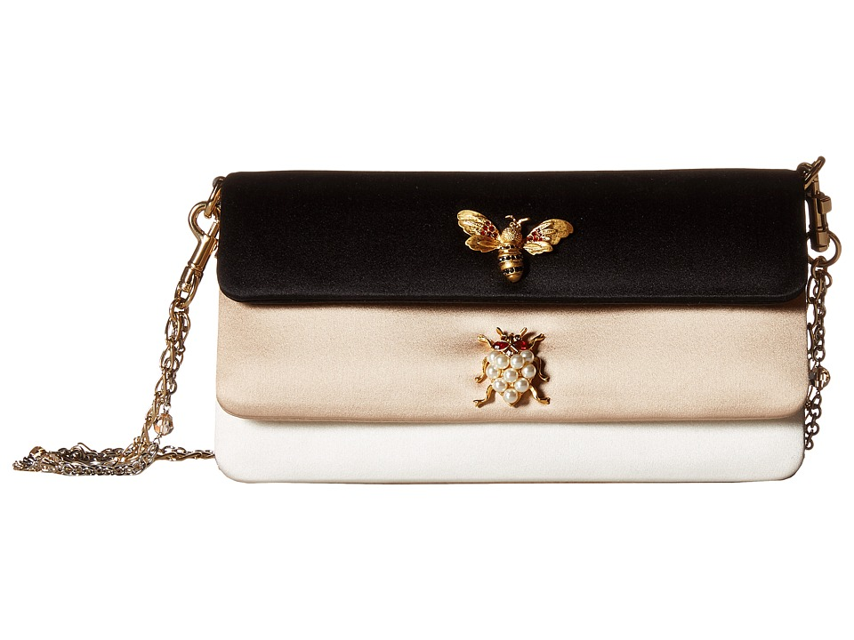 Dolce & Gabbana - Satin Double Flap Evening Bag (White/Black) Bags