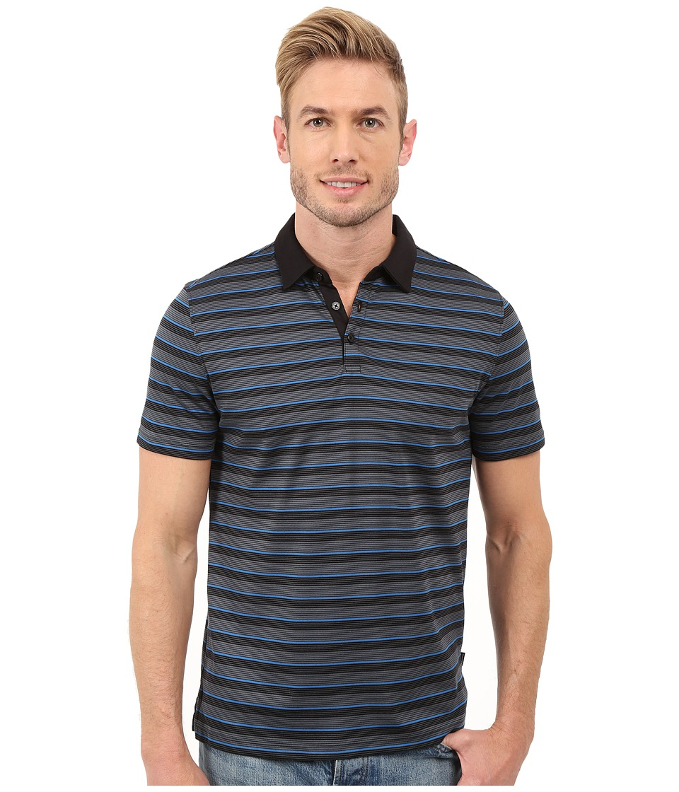 Calvin Klein - Classic Fit Thin Stripes Polo Shirt (Black) Men's Clothing