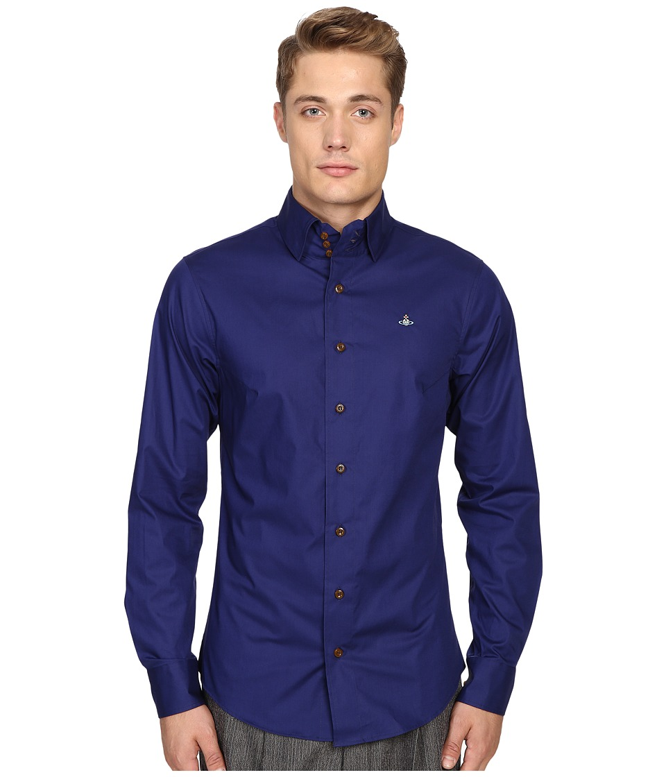 Vivienne Westwood - Plain Stretch Poplin Krall Shirt (Blue) Men's Clothing