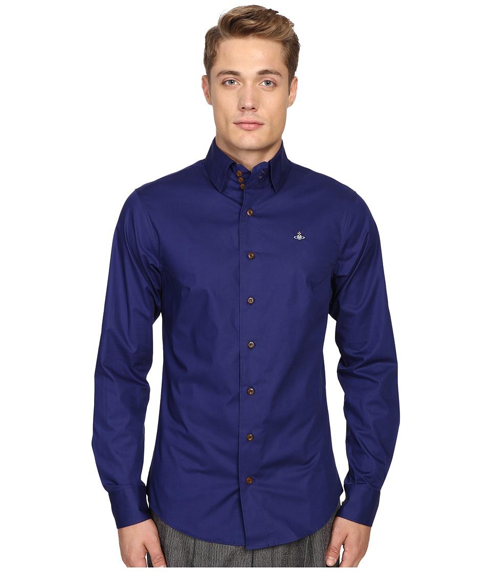 Vivienne Westwood - Plain Stretch Poplin Krall Shirt (Blue) Men's Clothing