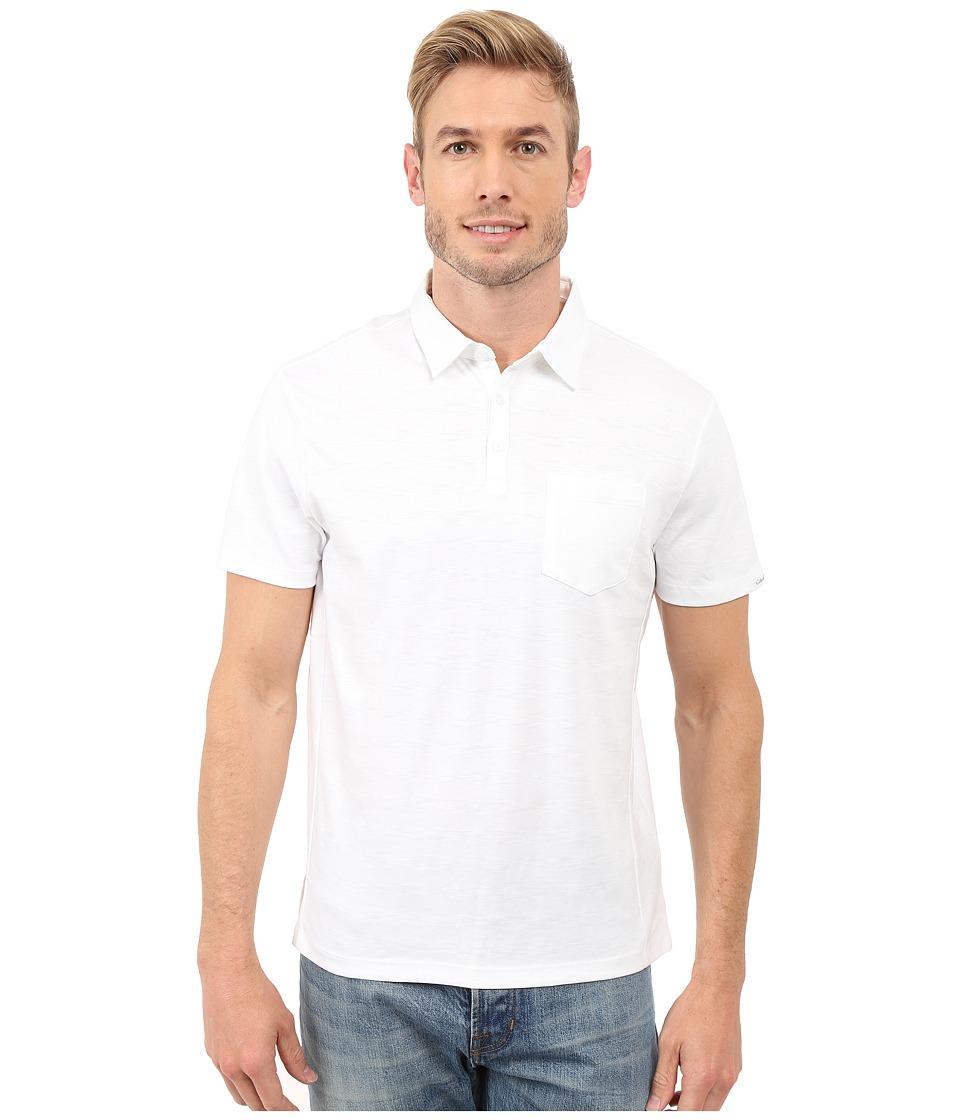 Calvin Klein - Short Sleeve Solid Textured Polo (White) Men's Clothing
