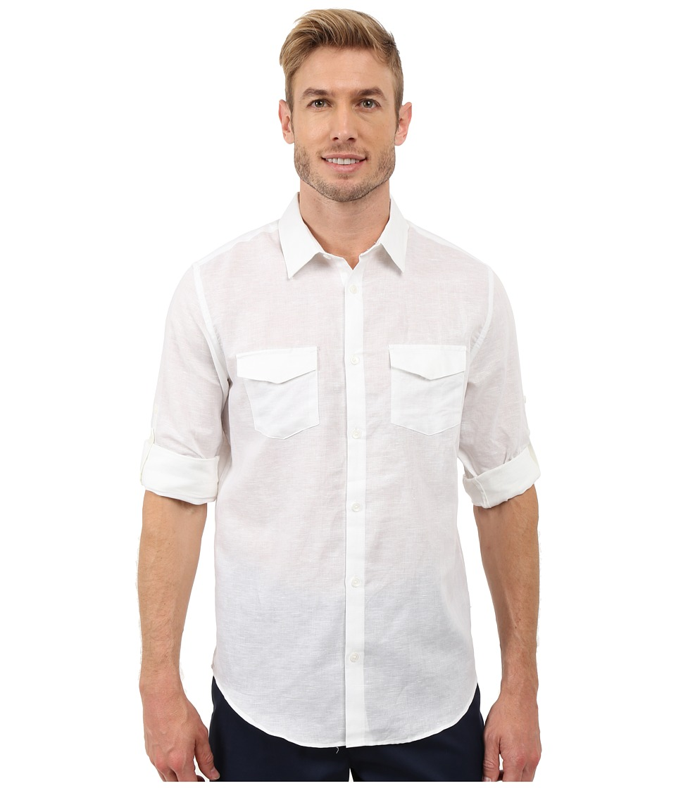 Calvin Klein - Classic Fit Linen Roll-Up Sleeve Shirt (White) Men's Clothing