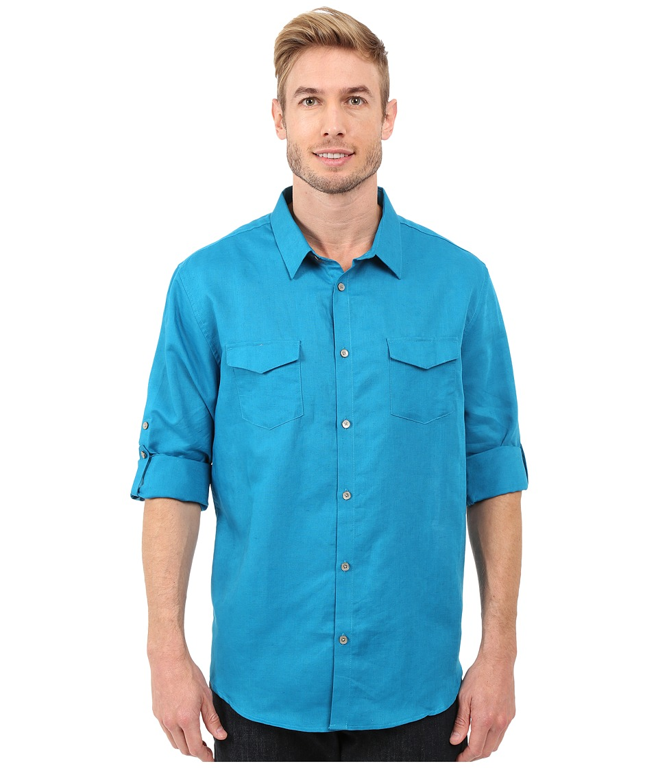 Calvin Klein - Classic Fit Linen Roll-Up Sleeve Shirt (Turkish Tile) Men's Clothing