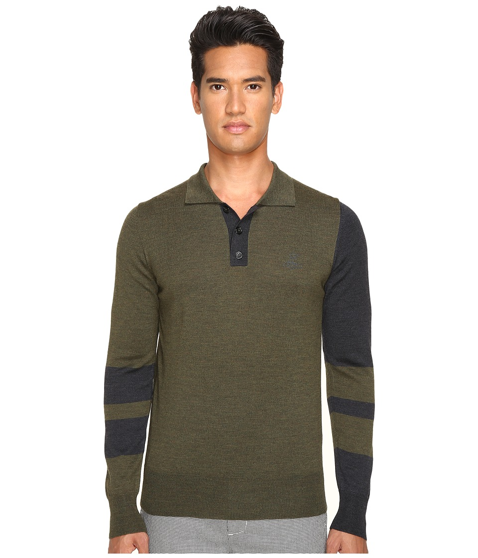 Vivienne Westwood - Block Classic Knit Polo (Green/Grey) Men's Sweater