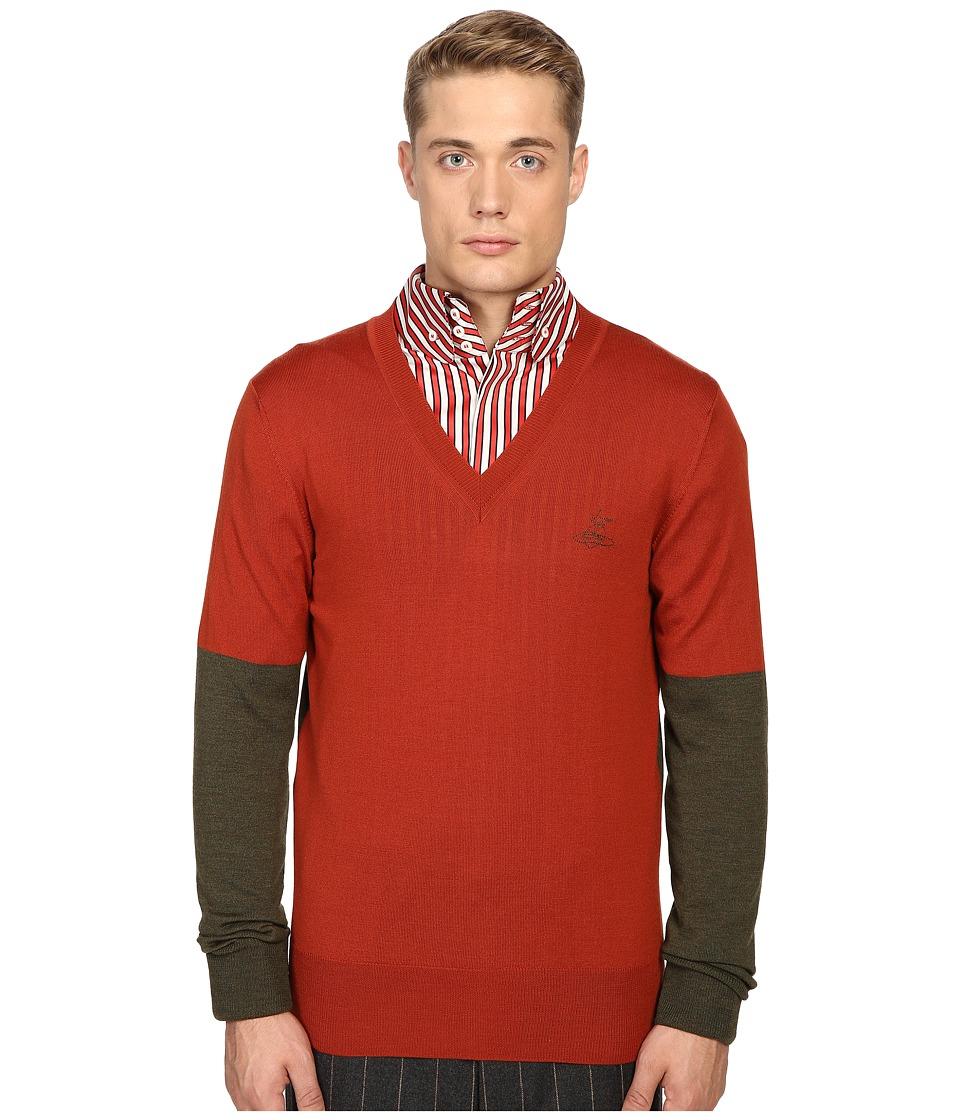 Vivienne Westwood - Block Classic V-Neck Sweater (Green/Orange) Men's Sweater