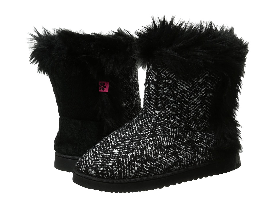 Foot Petals - Technogel Boot Slipper (Black/White Tweed) Women's Boots