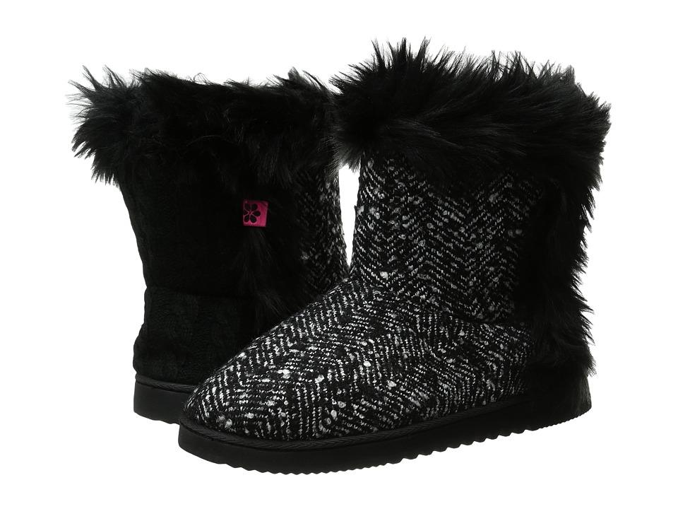 Foot Petals Technogel Boot Slipper (Black/White Tweed) Women