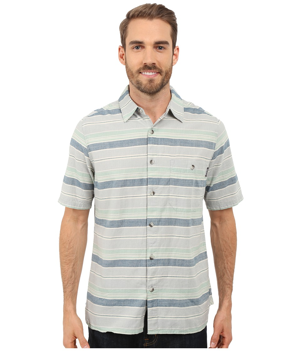 Woolrich - Lost Lake Chambray Stripe Shirt - Modern Fit (Coastal Gray) Men's Short Sleeve Button Up