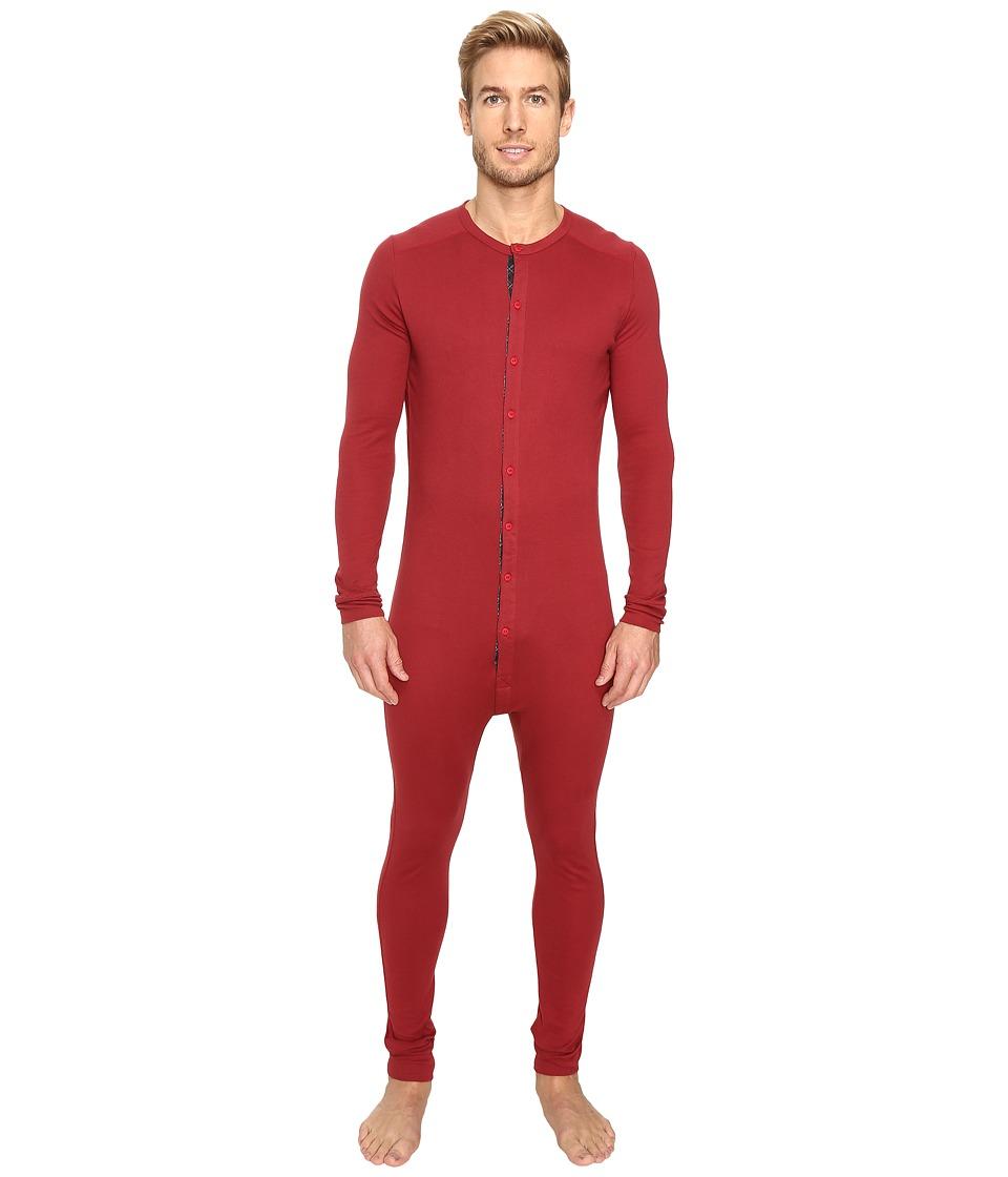 2(X)IST - Tartan Union Suit (Cranberry) Men's Pajama Sets