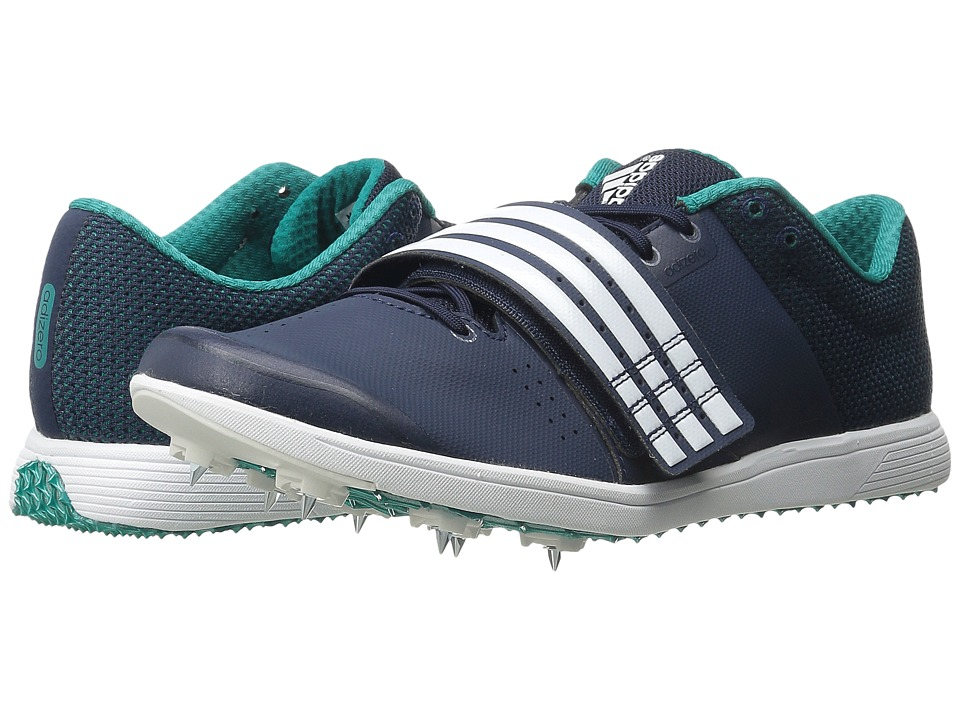 adidas - Adizero TJ/PV (Navy/White/Equipment Green) Athletic Shoes