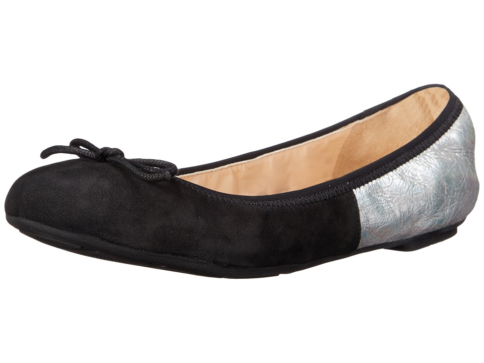 Cole Haan - Manhattan Demi Ballet (Black Nubuck/Silver Crackle) Women's Dress Flat Shoes