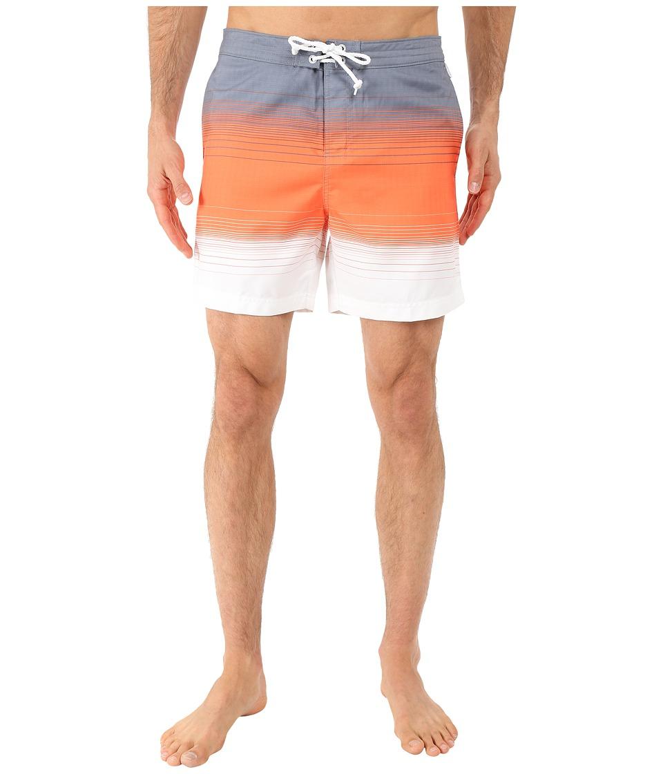 Original Penguin - Engineered Stripe Faux Chambray Print Fixed Volley Shorts (Flint Stone) Men's Swimwear