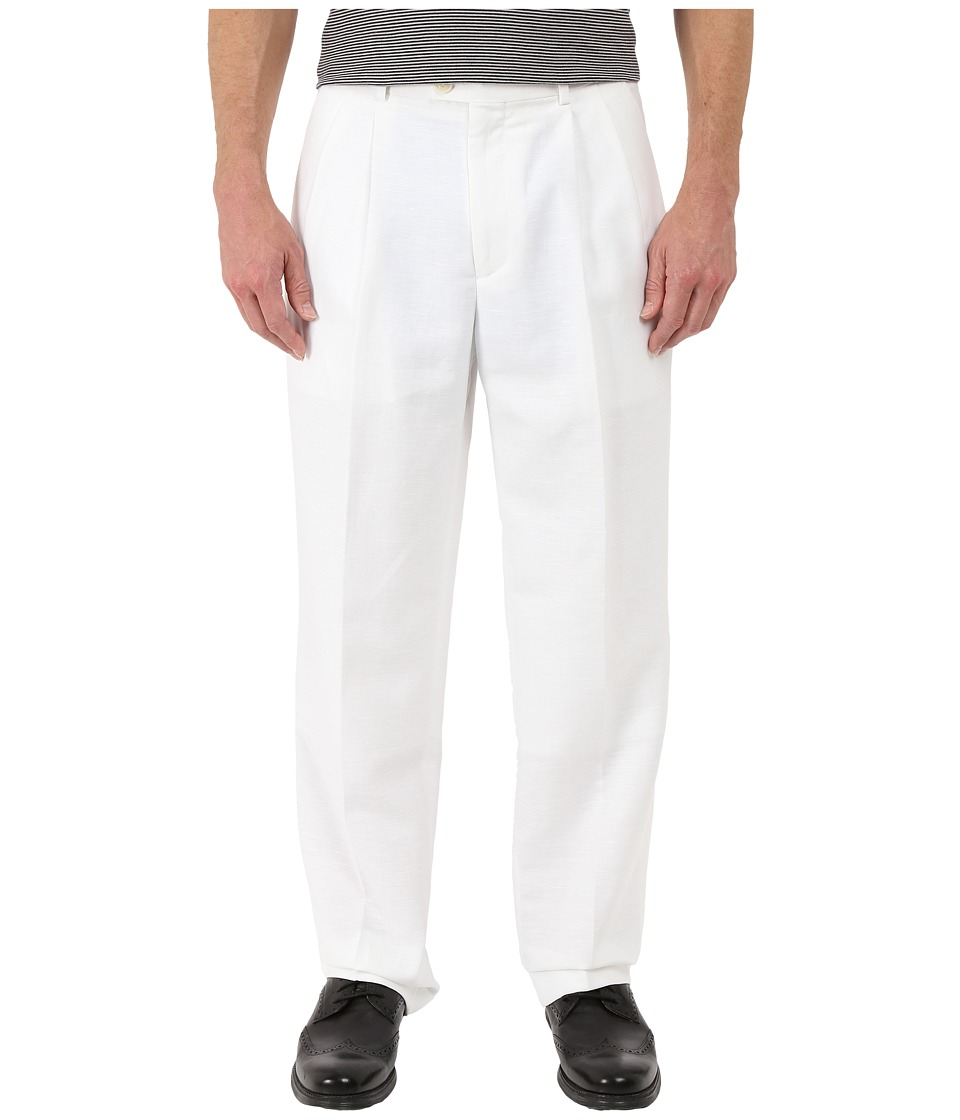 Perry Ellis Portfolio - Classic Fit Double Pleat Linen Portfolio Pant (Bright White) Men's Dress Pants