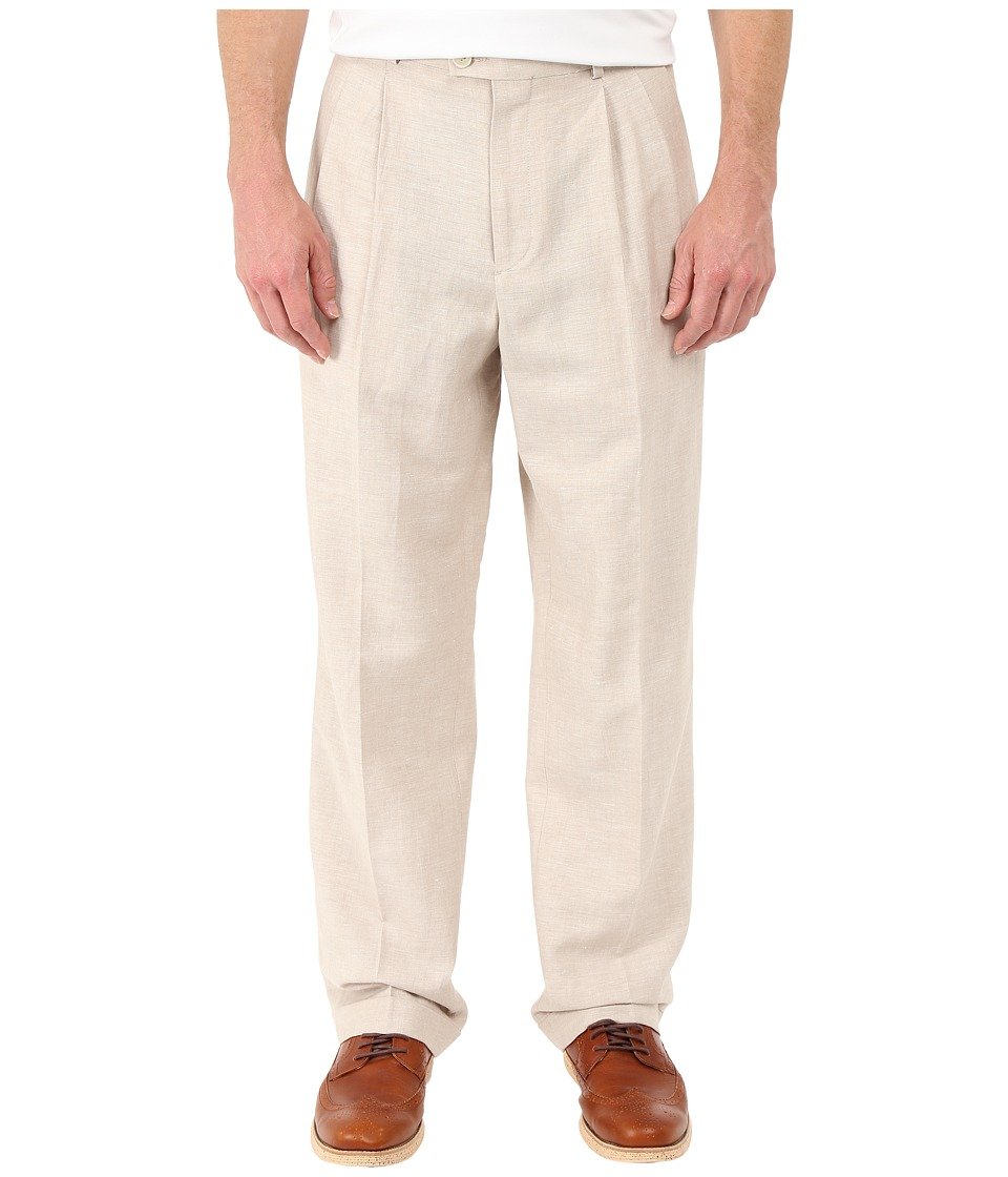 Perry Ellis Portfolio - Classic Fit Double Pleat Linen Portfolio Pant (Natural Linen) Men's Dress Pants
