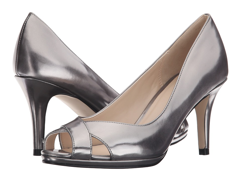 Cole Haan - Lena Open Toe Pump 75 (Dark Silver Metallic) Women