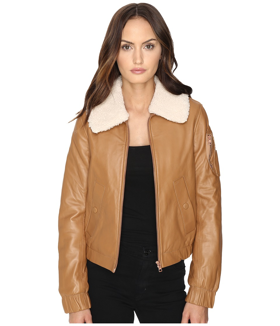 See by Chloe - Nappa Lamb Bomber Jacket (Nude) Women's Coat