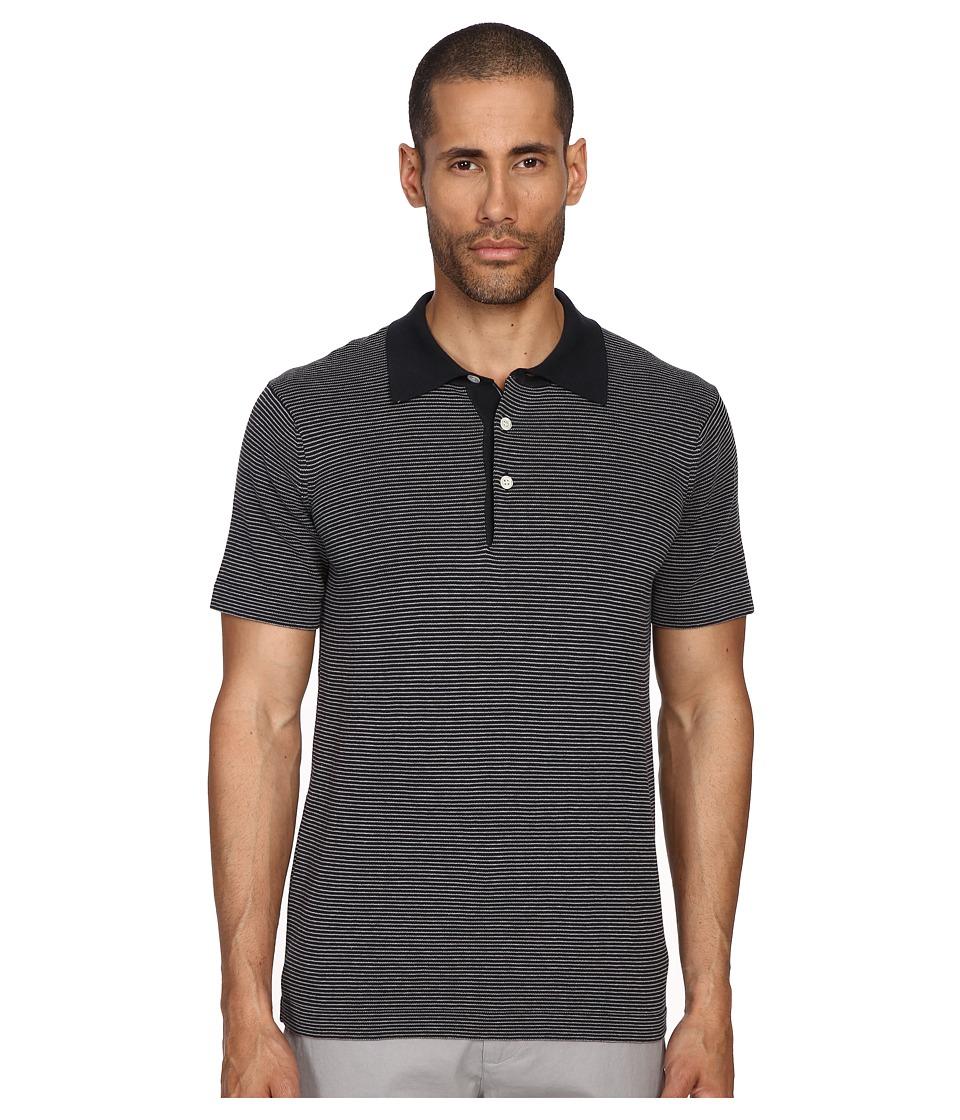 Billy Reid - Stripe Polo (Midnight/Grey) Men's Short Sleeve Knit