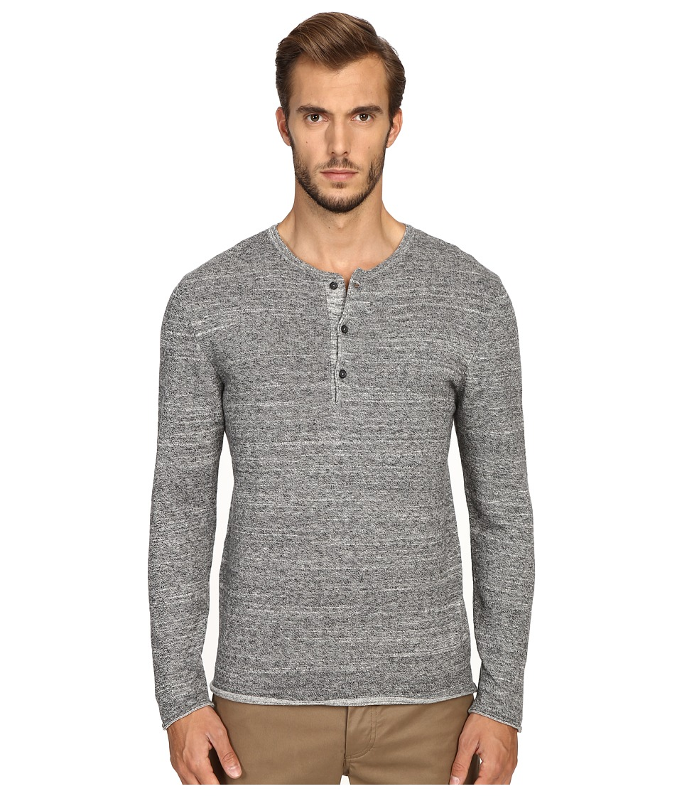 Billy Reid - Long Sleeve Sweater Henley (Dark Grey) Men's Sweater