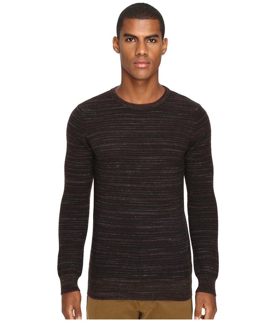 Billy Reid - Blurred Stripe Crew (Brown) Men's Clothing