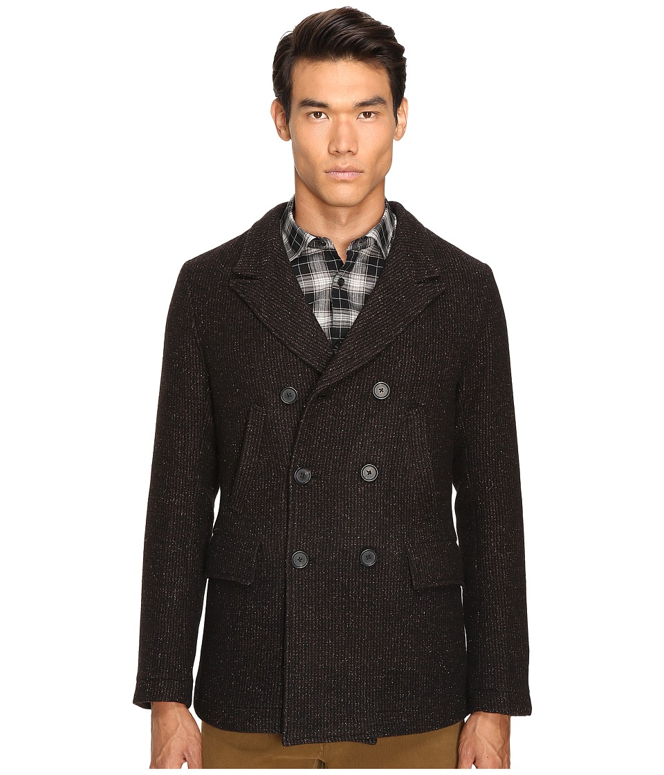 Image of Billy Reid - Bond Peacoat (Brown/Black) Men's Coat