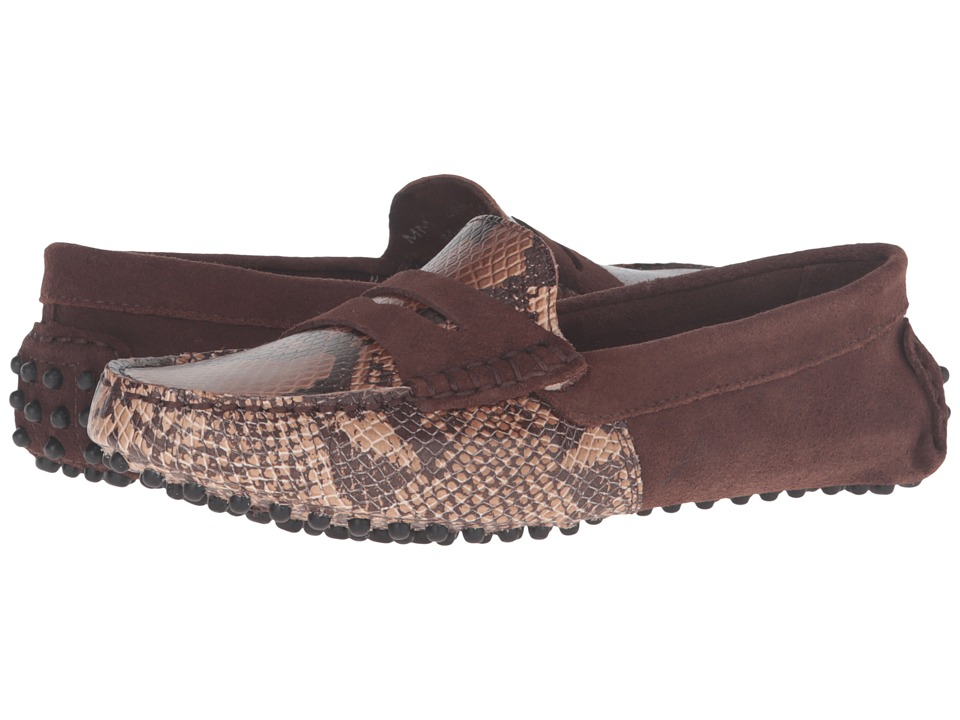 Massimo Matteo Snake Suede Penny (Brown) Women