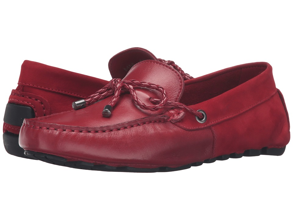 Massimo Matteo - Mixed Material Driver with Lace (Red) Women's Slip on Shoes
