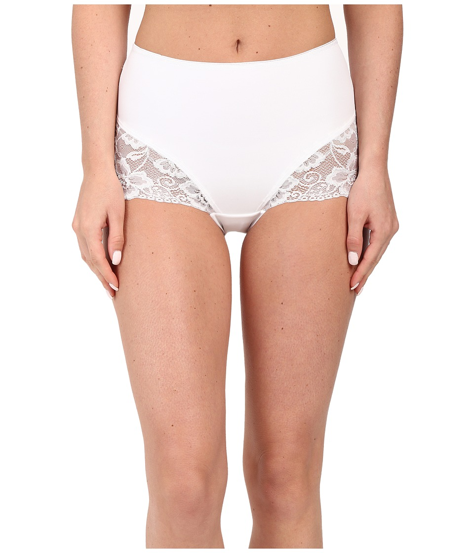 Jockey - Slimmers Front Panel Brief w/ Lace (White) Women's Underwear