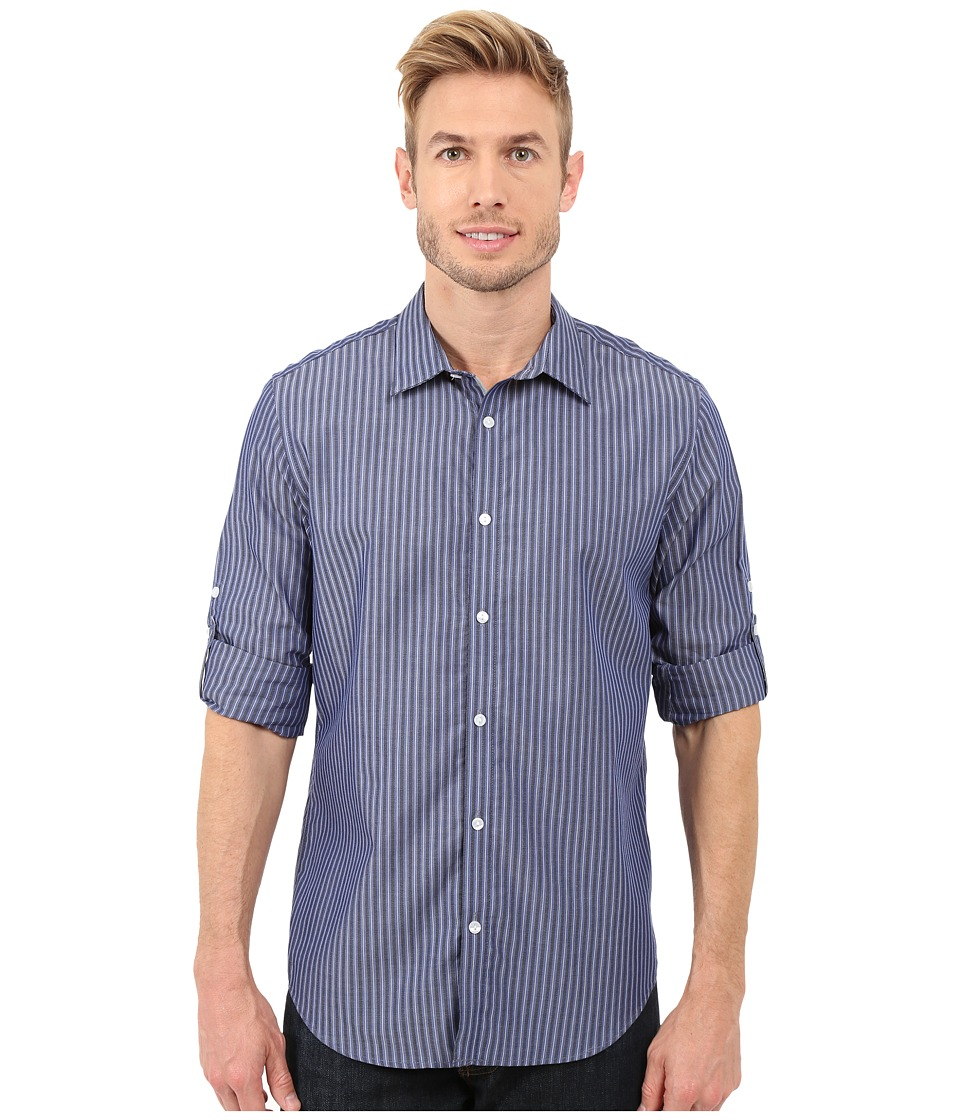 Calvin Klein - Long Sleeve Roll-Up Cotton Tencel Woven (Blue Jean Heather) Men's Long Sleeve Button Up