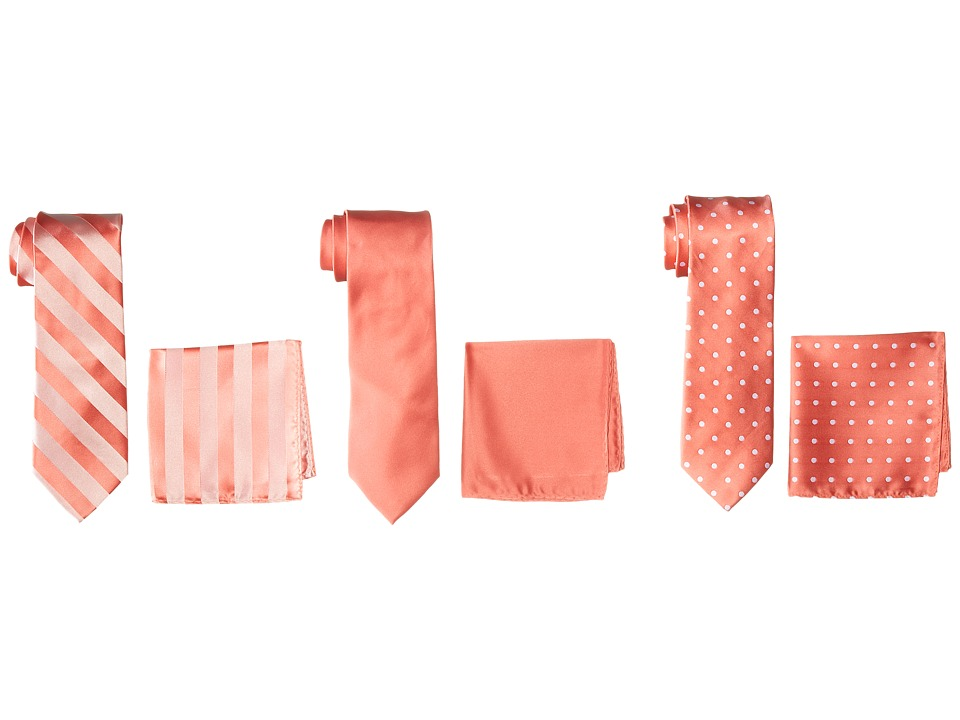 Stacy Adams - 3-Pack Tie Assortment with Pocket Squares (Coral) Ties