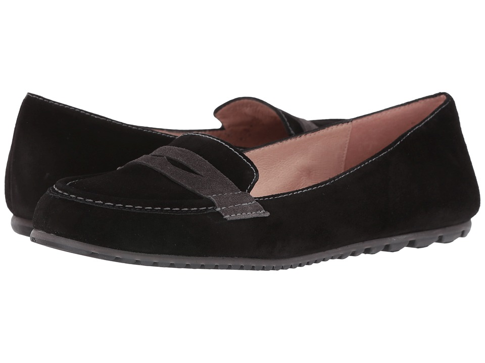 French Sole - Touchstone (Black/Grey Suede) Women's Flat Shoes