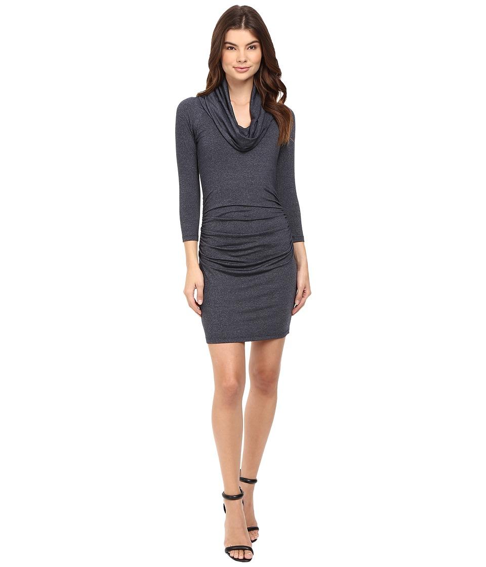 Susana Monaco - Cowl Neck Gathered Dress (Midnight Melange) Women's Dress