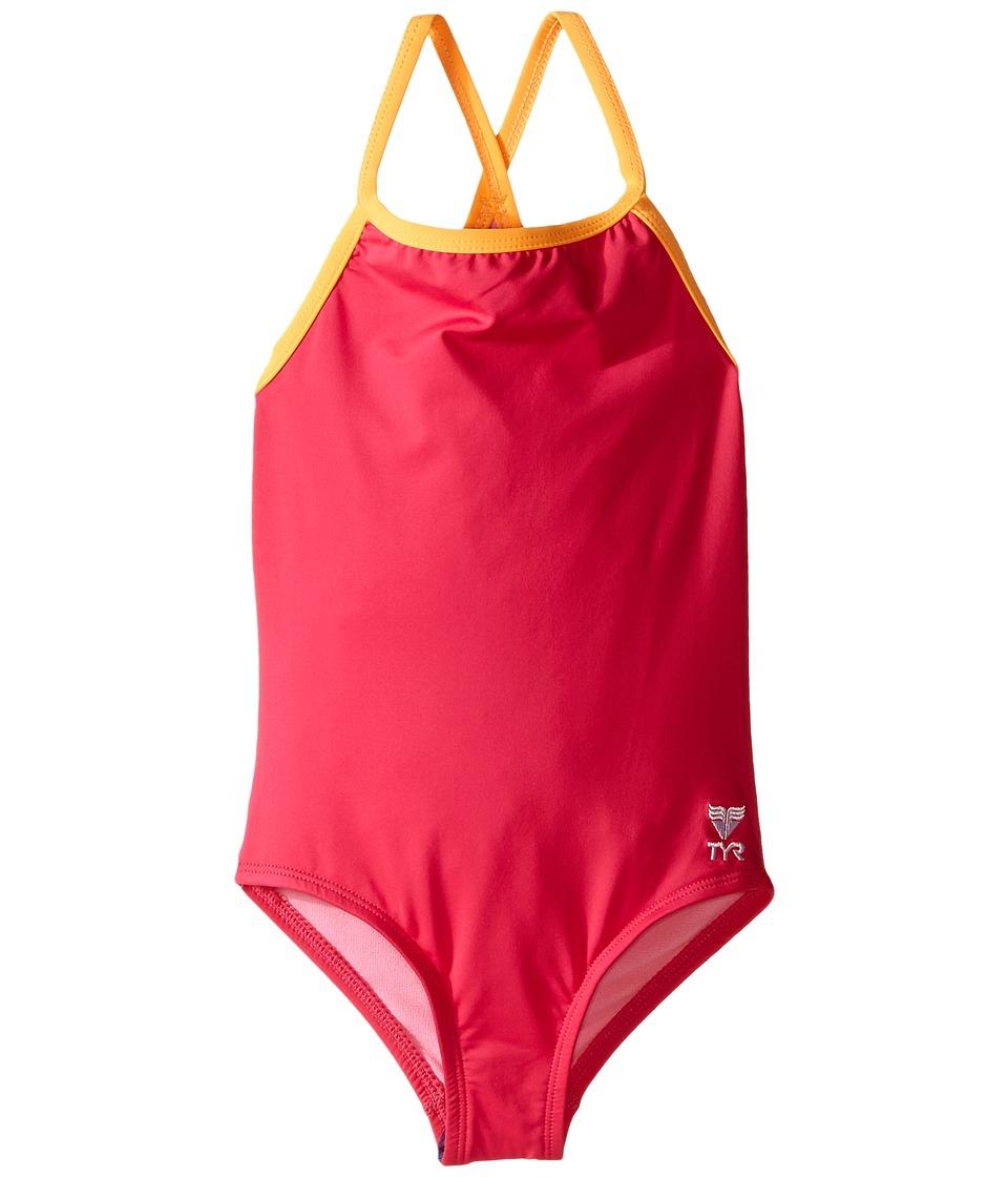 TYR Kids - Solid Mini Diamondfit (Little Kids/Big Kids) (FL Pink) Girl's Swimsuits One Piece