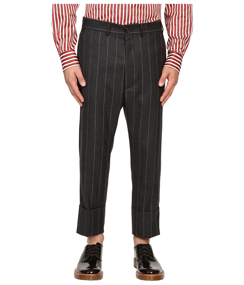 Vivienne Westwood - Pinstripe Flannel James Bond Cropped (Grey Pinstripe) Men's Casual Pants