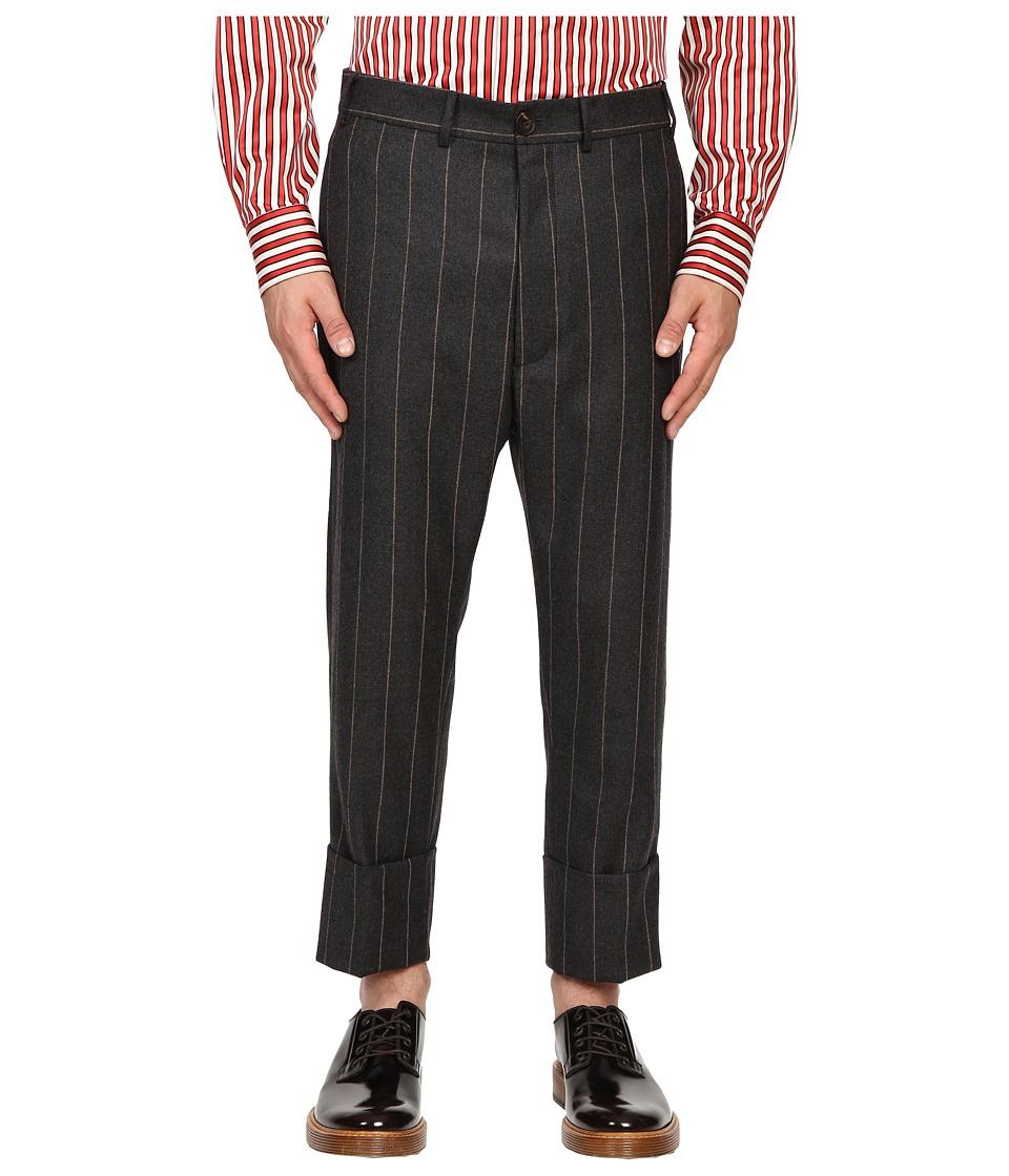 Vivienne Westwood - Pinstripe Flannel James Bond Cropped (Grey Pinstripe) Men's Casual Pants