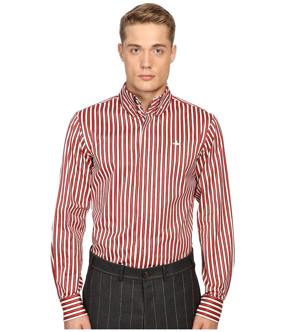 Vivienne Westwood - Luxury Stripe Krall Shirt (Red Stripe) Men's Clothing