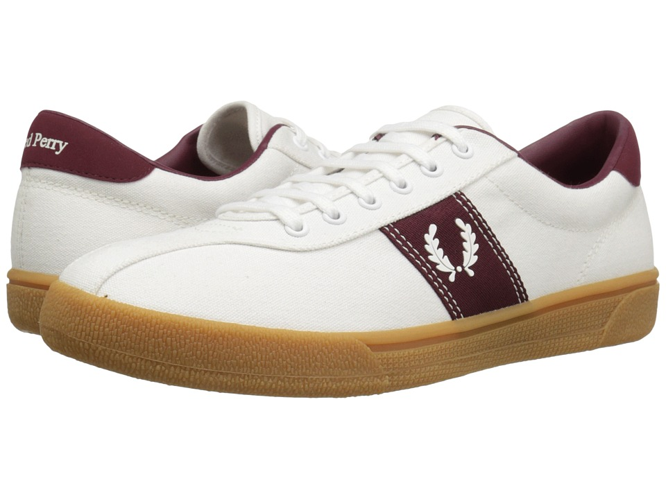 Fred Perry - Tennis Shoe 1 Canvas (Snow White/Snow White/Port) Men's Shoes